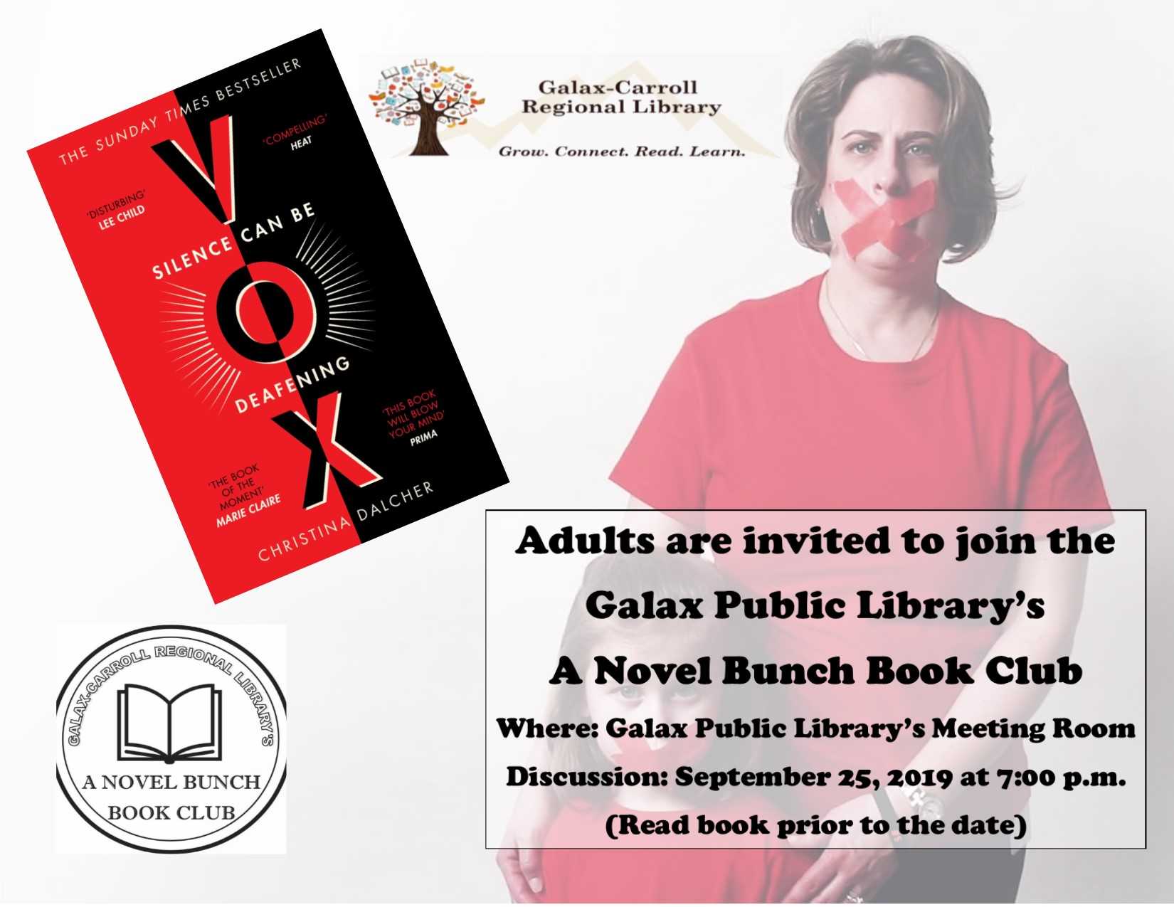 A Novel Bunch Book Club - VOX @ Galax Branch
